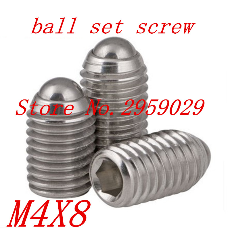 20pcs M4*8 4mm Stainless steel 304 Hex Socket Spring Ball Plunger Set Screw 20pcs m3 6 m3 x 6mm aluminum anodized hex socket button head screw