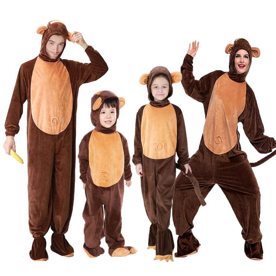 Umorden Animal Costumes Monkey Costume for Child Adult Family Matching Boy  Girl Chimp Cosplay Jumpsuit for Men Women bf2835bdf331