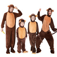 Umorden Animal Costumes Monkey Costume for Child Adult Family Matching Boy Girl Chimp Cosplay Jumpsuit for Men Women