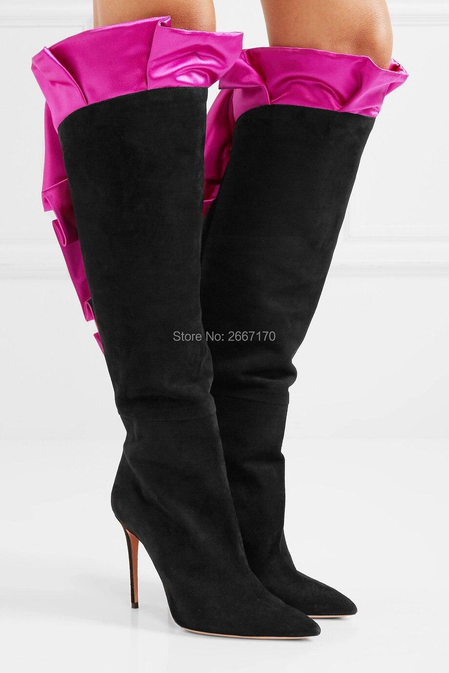 d66880ae4 Tacón Mujer Recortado Nueva Rodilla Las Marca Ruffle 2018 Punta Mujeres  Fucsia Tall Zapatos Estrecha Botines Alto ...