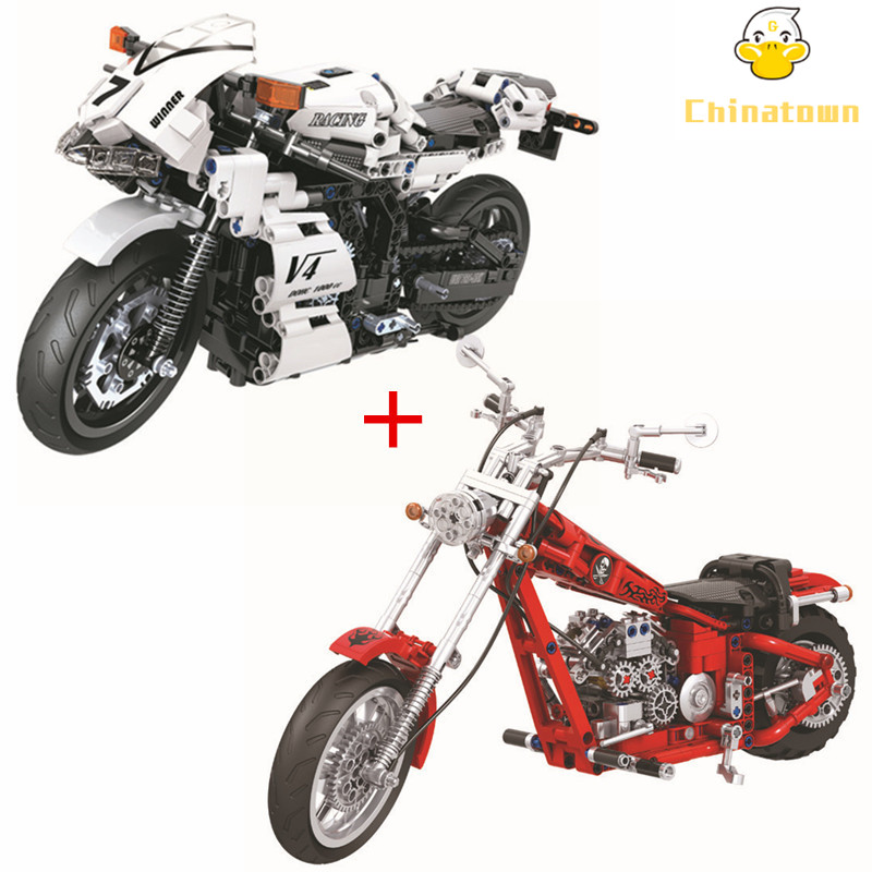2 Pcs/lot Technic Motorcycle Street Race Competition Sets Building Blocks Bricks City Car Model Kids Classic Compatible Legoings 2 sets lot