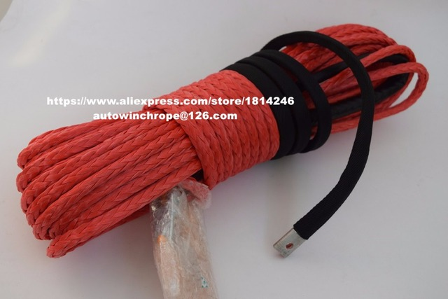 """Free Shipping Red 3/8""""*100ft Synthetic Rope with Hook,Synthetic Winch Cable,3/8"""" Off Road Rope,ATV Winch Cable"""