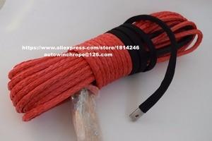 """Image 1 - Livraison gratuite rouge 3/8 """"* 100ft corde synthétique avec crochet, câble de treuil synthétique, 3/8"""" hors route corde, câble de treuil ATV"""