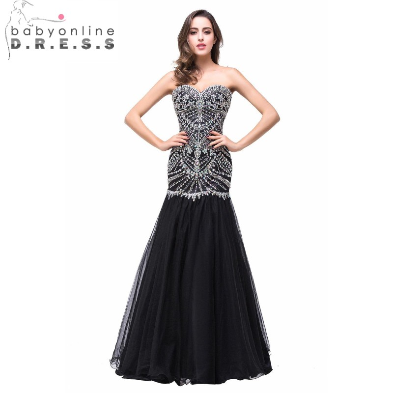 Babyonline Heavy Beaded Black Mermaid   Prom     Dresses   2019 Crystal Sweetheart Formal Party   Dresses   Evening Gowns vestido de festa