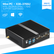 Low price Mini PC 3755U Dual Core Windows 10 4gb Ram Celeron Desktop small linux PC 2*RJ45+2*ComRS232