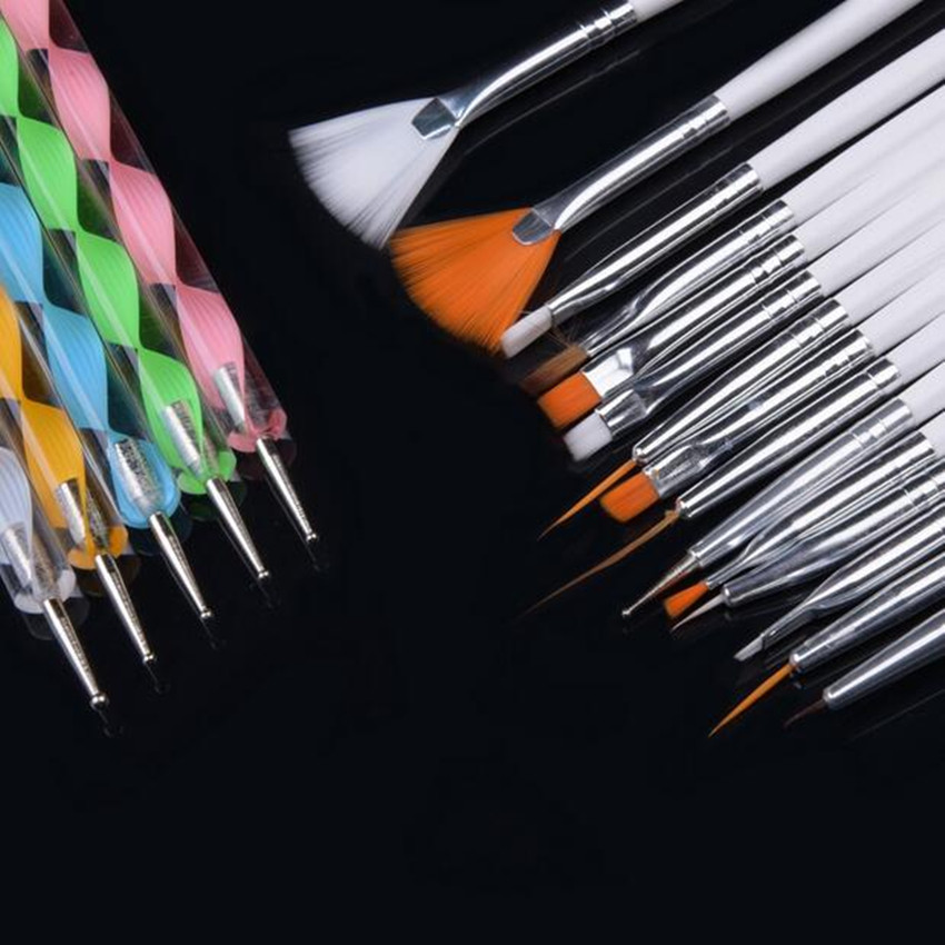 20pcs/set Art Design Painting Tool Pen Polish Brush Set Kit Professional Nail Brushes Styling Nail Art tools BO