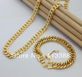 SET695 New Arrivals High quality Items 24K Plated 9MM Width Gold Link Chain Bracelet Necklace Mens Jewelry Sets Fine Jewellry