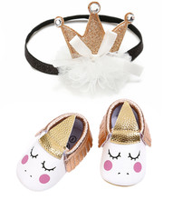 New Style Cute Pattern Baby Shoes For Girl Autumn PU Princess + Beautiful Crown Headband First Walkers Wholesale