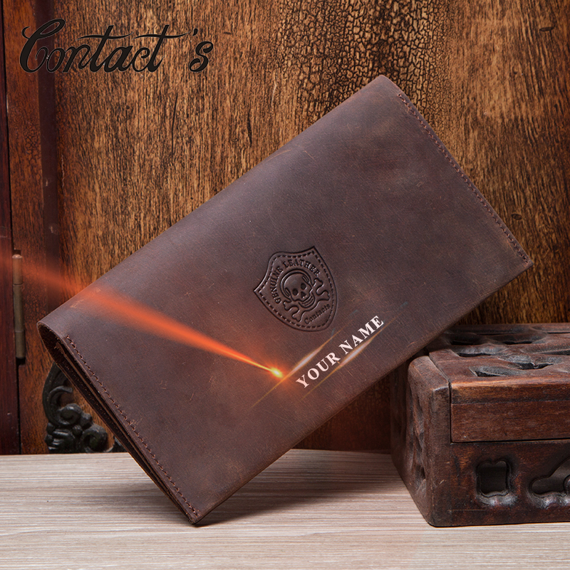 Contact's Genuine Leather Men Wallets Passport Cover Long Coin Purse Cluth Wallet For Male Card Holders Money Bag Billetera