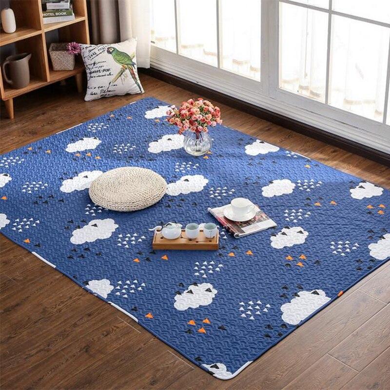 Tapis d'hiver en coton doux pour chambre salon dessin animé imprimé tapis de sol pour enfant épais tapis rectangulaire antidérapant Textile à la maison