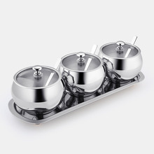 BEEMSK 1SET kitchen seasoning box home set with lid seasoning bottle 304 stainless steel salt and salt seasoning tank set