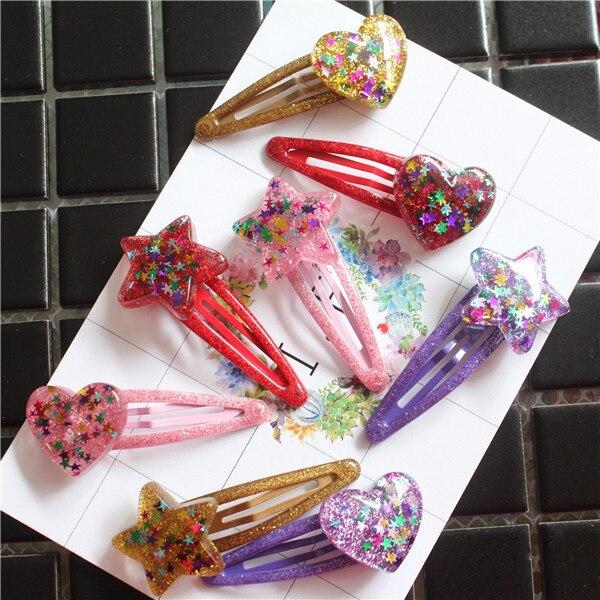 2 PCS Lovely Shining Star Heart-shaped BB Clips Girls Hair Accessories Kids Hairpins Children   Headwear   Baby Hair Clips Headdress