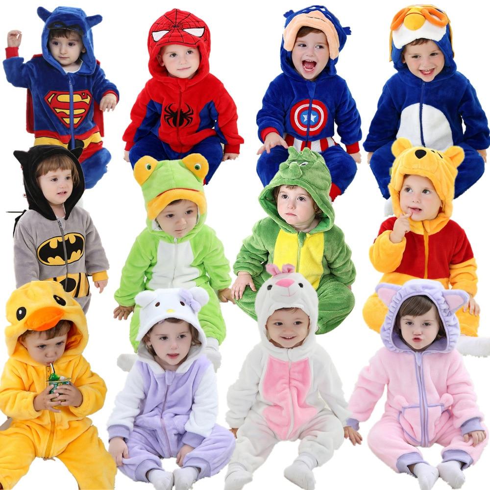 Androktones Winter Animal Kids Clothes Fleece Romper Set Baby Boys Girls Jumpsuits Overalls Cosplay Halloween Christmas Costume on AliExpress