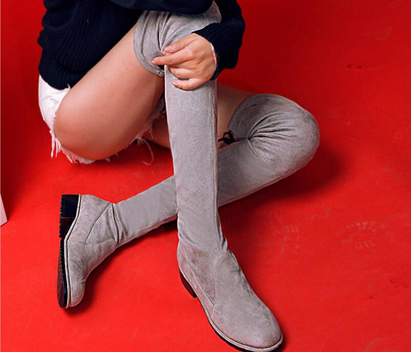 New Grey/Black Nubuck Leather Over The Knee Boots Round Toe Flat With Hollow Thin Shoes Cross-tied Knight Boots 2016 paris show locomotive boots liu wen with the cool boots hollow out black martin boots ladies shoes comfortable flat boots