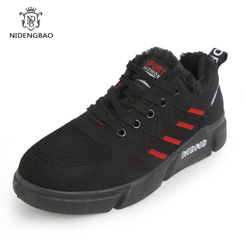 Marque de mode Style chaussures hommes avec fourrure chaussures décontractées pour hommes garder au chaud imperméable coton peluche mâle adulte baskets homme chaussures