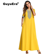 GuyuEra New African riche dress for women Embroidered cotton 100% short sleeve V-neck robes
