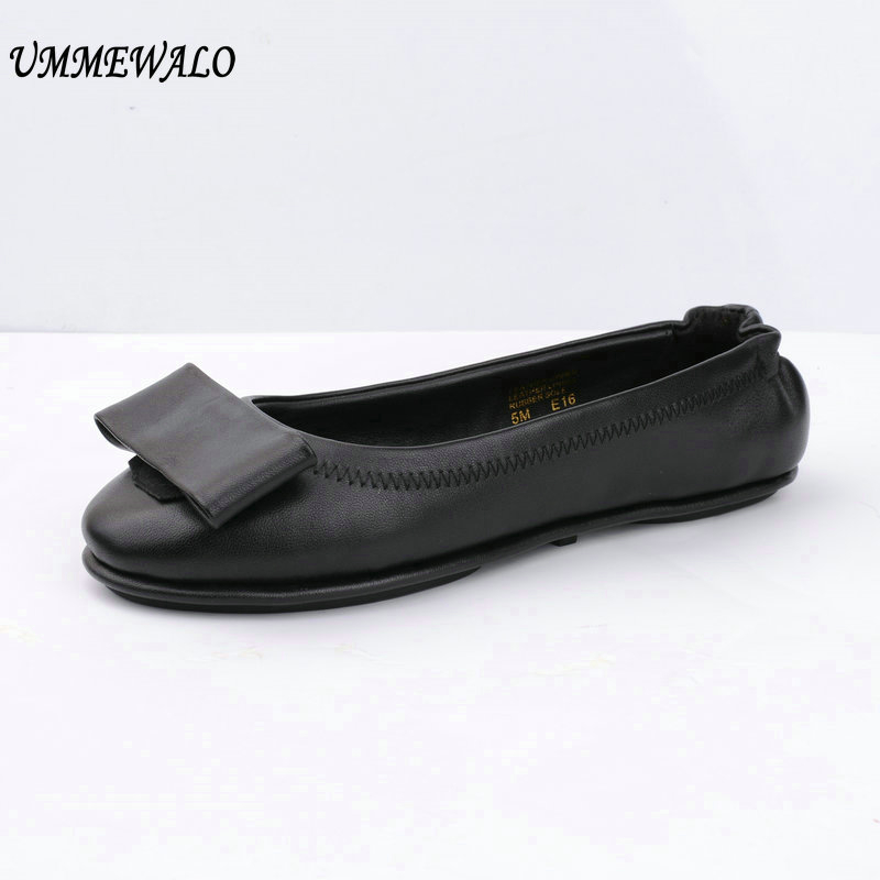 UMMEWALO Flat Shoes Women Soft Ballet Shoes Woman High Qualiy Casual Round Toe Ballerina Flats Ladies Genuine Leather Shoes