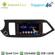 Quad Core 8 «1024*600 Android 5.1.1 Автомобильный Dvd-видео Плеер Радио Экран BT FM DAB + 3 Г/4 Г WI-FI GPS Для Kia Picanto Утро 2014