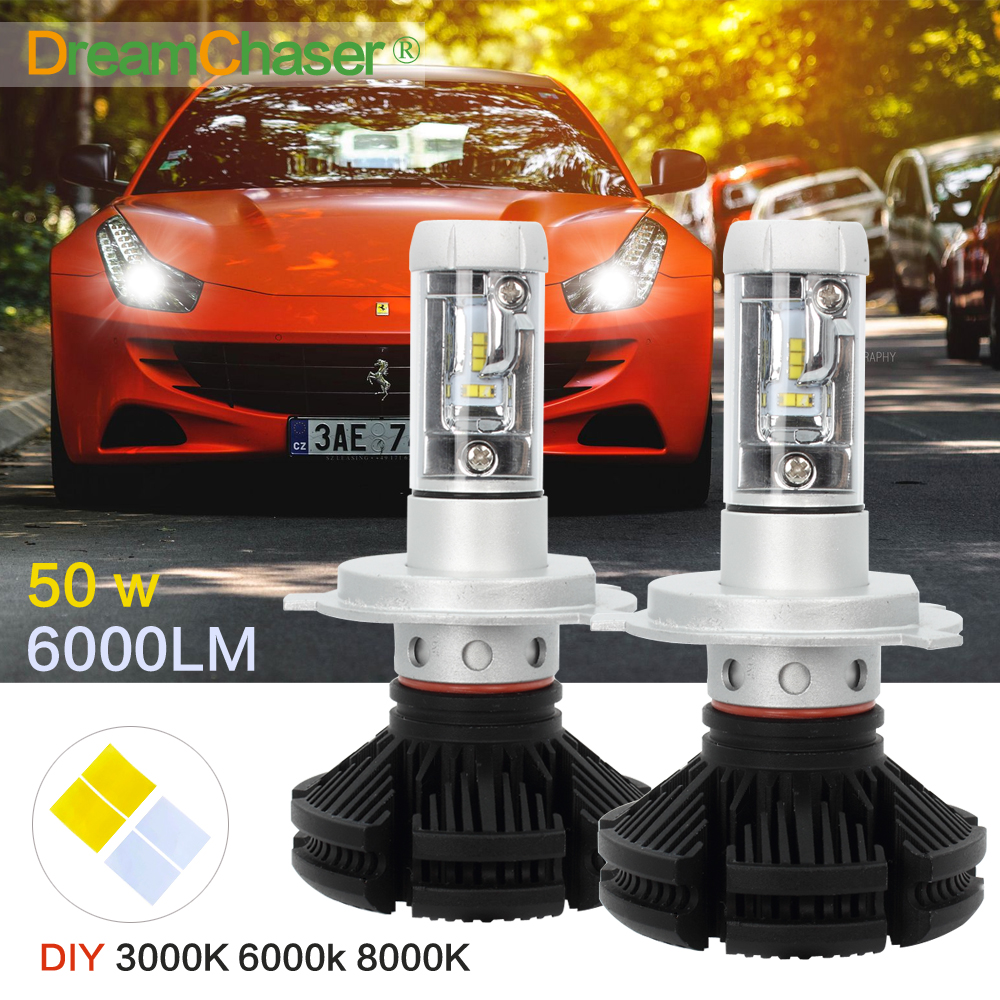 Dream Chaser CREE CSP Chips Hi-Lo Beam H4 LED Headlight Kits Far & Near Driving Lighting Car Bulbs Head Lamp 3000K 6000K 8000k hks silent hi power на chaser