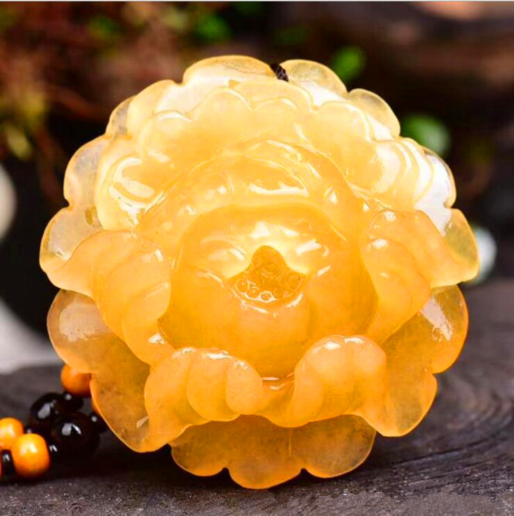 natural china HUANGLONG jade Hua kai fu gui peony flower pendant women style large Sweater chain