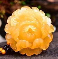 natural china HUANGLONG jade Hua kai fu gui peony flower pendant women style large Sweater chain necklace Fine Jewelry