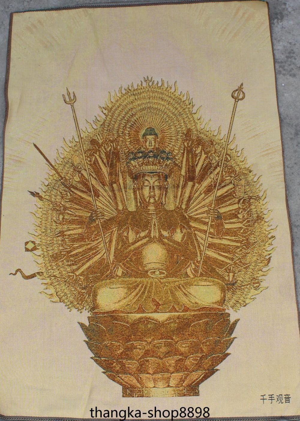 Silk 1000 Arms Avalokiteshvara Of Goddess GuanYin Buddha Painting Tangka Thangka