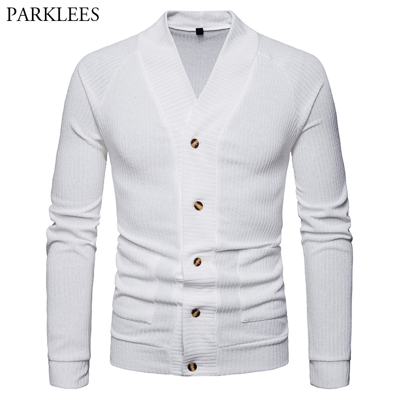 Classic V Neck Cardigan Sweater Men Casual Slim Fit Solid Color Mens Gray Button Sweatercoat Soft Cardigans Homme Masculino 2XL