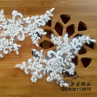2016 new Soft wedding flower patches mirror pair white and black and Red embroidered 24*11cm