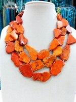 Fashionable Wedding Handmade Orange Stone Slice Necklace Woman Gift Exaggerated Jewelry Stone Stone 3 Layer Necklace