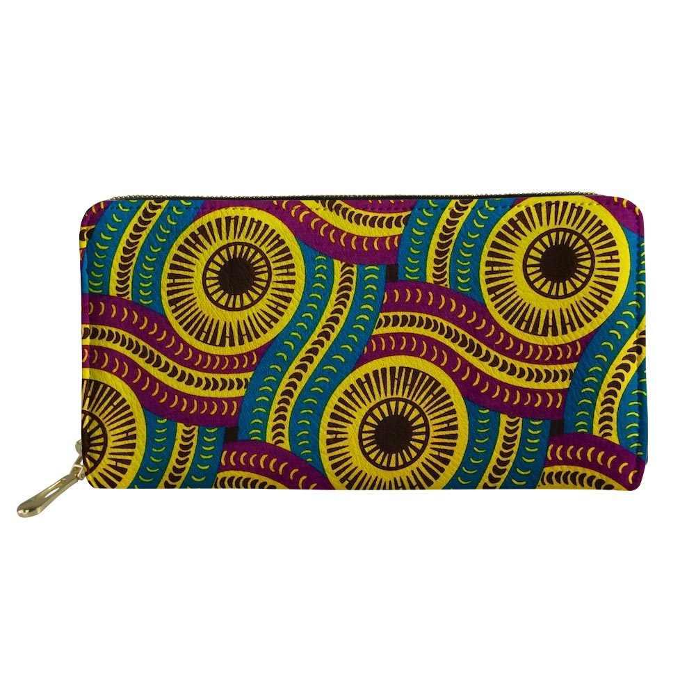 FORUDESIGNS Ví Da Châu Phi In Hình Dài có Dây Kéo Clutch Ví Đựng Thẻ Điện Thoại Thời Trang Túi Tiền,
