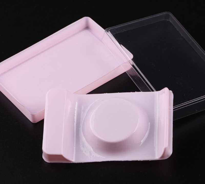 50pcs Packing box for eyelash round plastic eyelashes package box transparent Lid pink eyelash tray wholesales