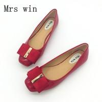 Brand Women Flats Shoes Spring Autumn Patent Leather Square Toe Bowtie Slip On Female Ballet Shoes