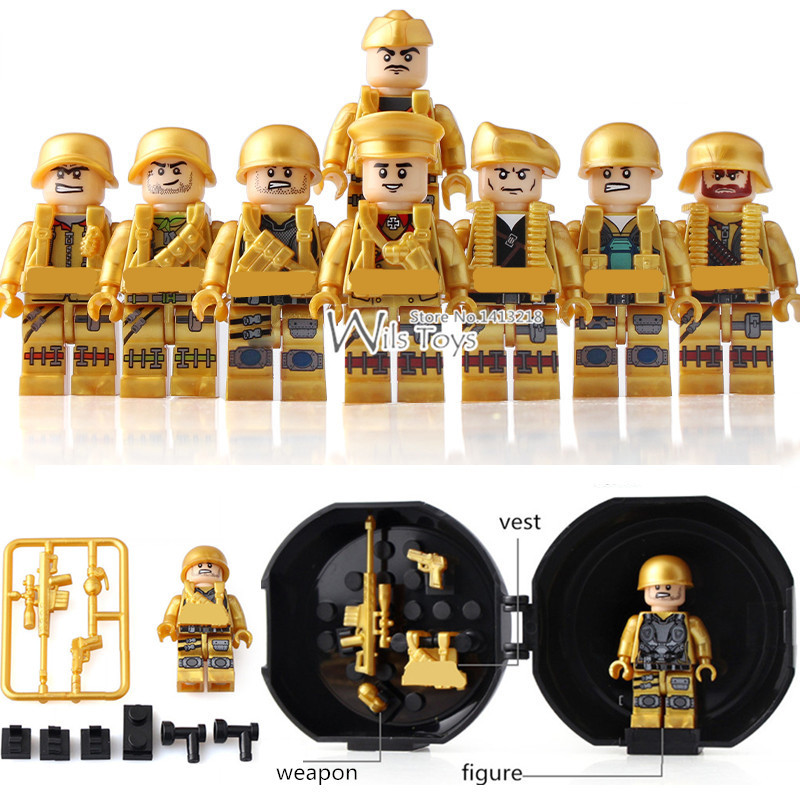 где купить 8pcs Golden Soldier MILITARY Weapon Army WW2 SWAT Special Forces navy Building Blocks Bricks Figures display box Toys Boys Gift по лучшей цене