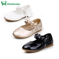 Girls White Dress Shoes Models Flower Princess Shoes PU Leather Korean Students 3 Color Baby Party