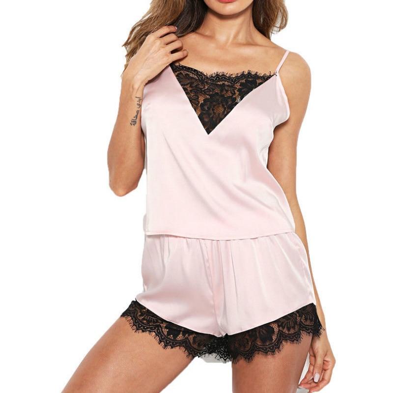 Sexy Women Lady Lace Patchwork Sleeveless Sleepwear Backless Nightwear Lingerie   Pajamas     Set   Size XS-XL