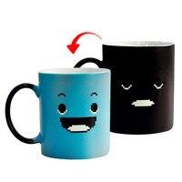 Taza cambia Color magia sonrisa azul creativa taza café té leche ASA taza regalos novedad 300ml