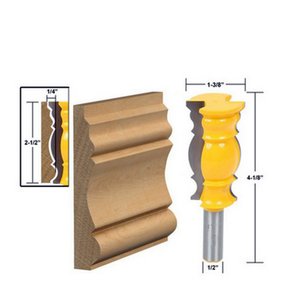Milling Cutter Woodworking Molding Router Bit 1/2x63.5MM Molding Router Bit Shank Wood Carving Cutting Tools 1 2 shank 2 1 4 diameter bottom cleaning router bit mayitr high precision woodworking milling cutter cutting tools for mdf