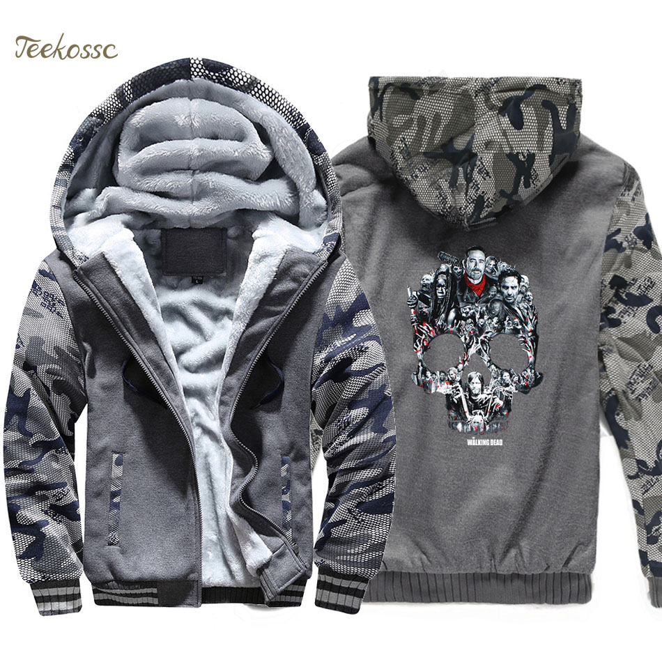 Walking Dead Hoodie Men Hip Hop Skull Montage Hooded Sweatshirt Coat 2018 Winter Warm Fleece Thick Jacket Punk Brand Streetwear