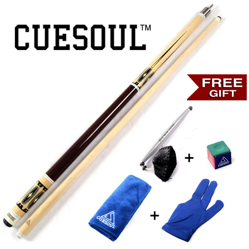 CUESOUL 21OZ Pool Cue Stick With Free Gift For You!! Cue Towel+Billiard Gloves+Chalk Pen+Billiard Chalk +Cue Joint/Shaft Protect