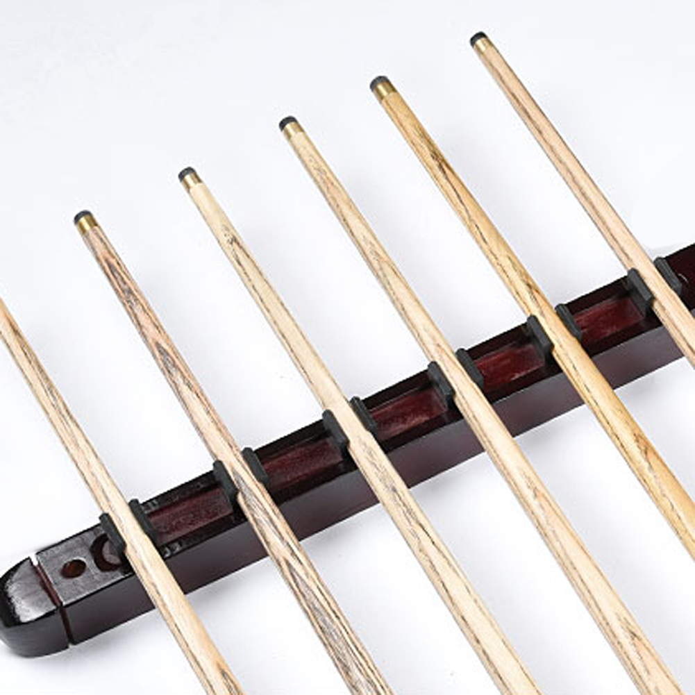 1 Set Billiard Pool Snooker Table Wall Mount Hanging Professional 6 Cue Sticks Solid Wood Rack