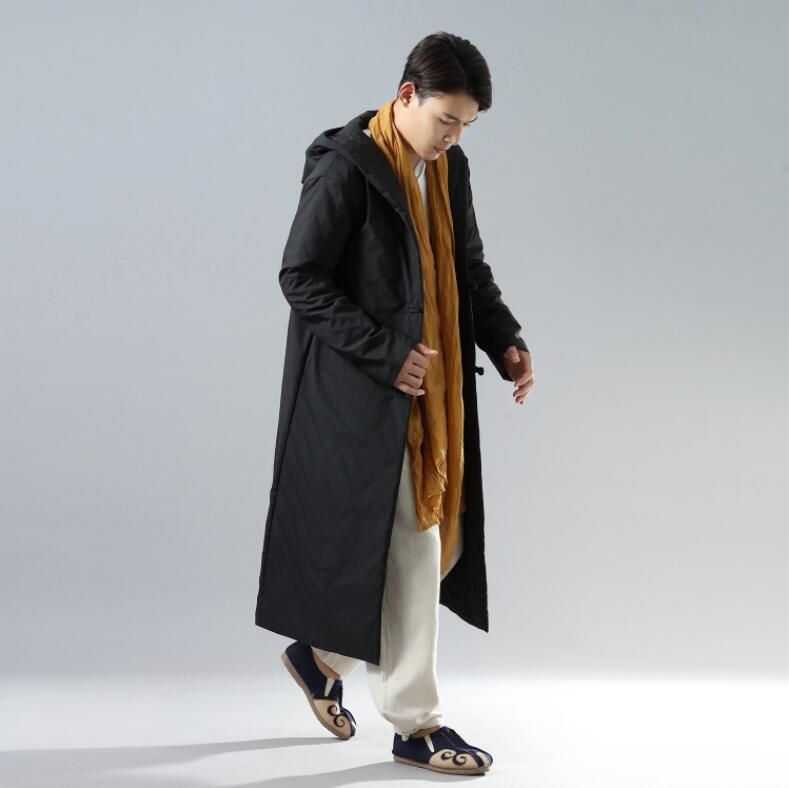 Chinese Folk Style Trench Coat with hooded casual unique menswear Autumn winter long Gown Robe warm Linen Cotton-padded clothes