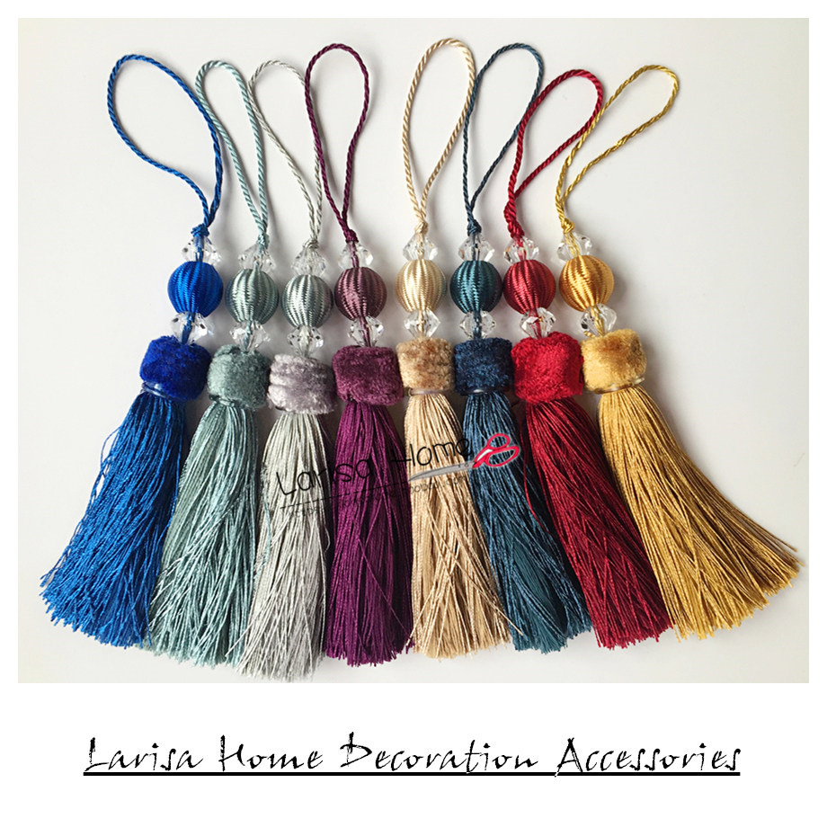 Beautiful Quality Europe Type Velvet Small Bag Tassels Head Valance Curtain Table Runner Accessories Tassel Drops 23cm Length