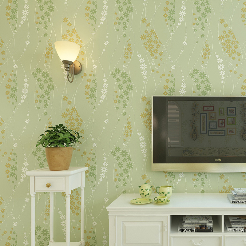 beibehang pastoral flowers Wall paper Europe Modern Embossed Flocking Non-Woven Living room TV Background wall papers home decor
