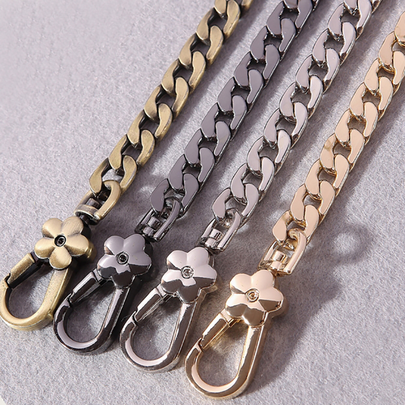 DIY Metal Replacement Chain Shoulder Bag Straps 9mm Gold, Silver, Gun Black, Brushed Bronze Handbag Purse Handles High Quality 51mm inside 30pcs 4 colors high quality diy handbag bag silver light gold metal accessory arch bridge connector hanger