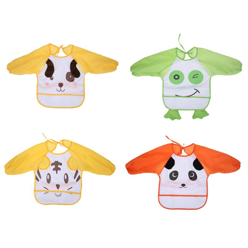 Baby Long Sleeve Feeding Coverall Bib Cartoon Animals Waterproof Backing Apron Baby Feeding Baby Burp Cloths
