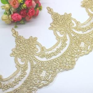 Image 3 - זהב רקום תחרה Appliqued 5 Yds שמפניה זהב תחרה Trims אור טול תחרה בד מסולסל כלה Sashes 23 31CM