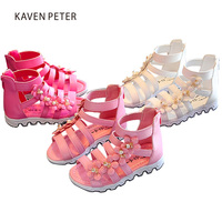 Gladiator Ankle Sandals Girls Woven Shoes With Crystal Gladiator Boot Flat Ankle Sandals Child Orthopedic Shoes