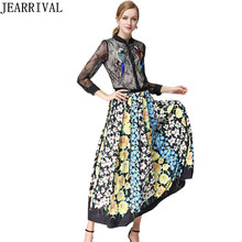 High Quality Runway Women's Sets Two Piece Set Embroidery Lace Blouse Tops + Vintage Flower Print Long Maxi Skirt Suit