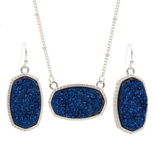 Wholesale 6 Set Lot YJX Silver Color Oval Pendant Necklace With Earrings Jewelry Glitter Druzy Drop Boutique
