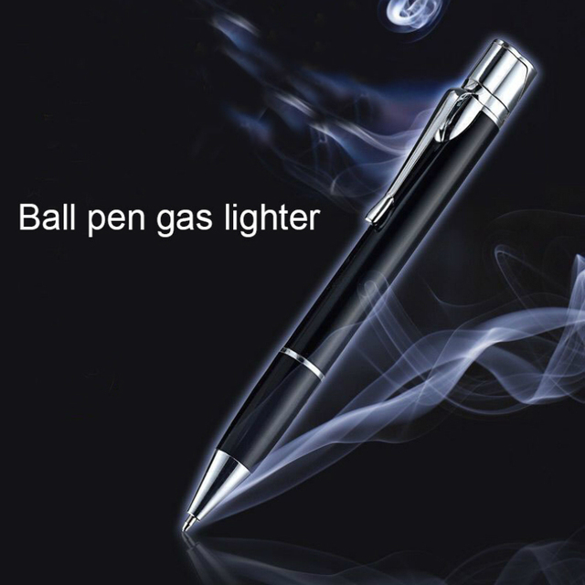 Creative Ball Point Pen Shape Windproof Gas Lighters Adjustable Green Straight Flame Gas Jet Torch Cigar Lighter Gadgets for Men 3